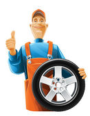 Auto mechanic with wheel — Vetor de Stock