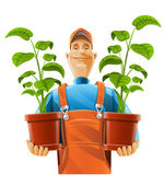 Gardener with plant in flowerpot — Stock Vector