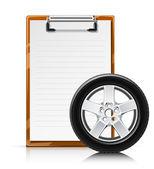 Clipboard with wheel — Stock Vector