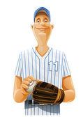 Baseball player with bat and ball — Stock Vector