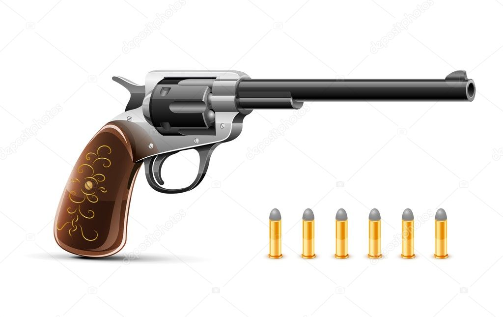 Gun revolver with bullet vector illustration isolated on white background — Stock Vector #5871985