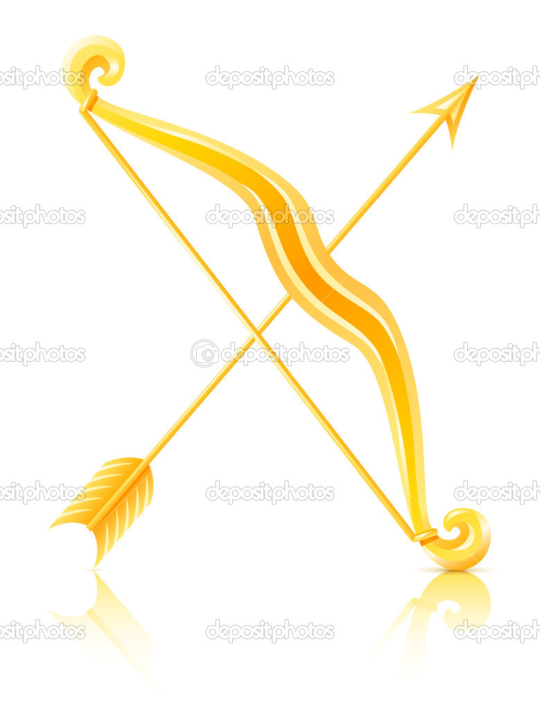 Bow with arrow vector illustration isolated on white background — Stock Vector #5872404