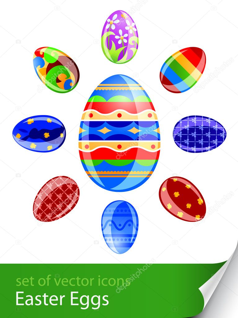 Set easter eggs vector illustration isolated on white background — Stock Vector #5873066