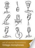 Set vintage mikrofon — Stok Vektör