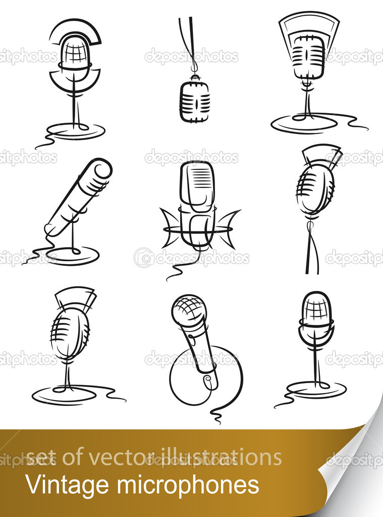 Set vintage microphone vector illustration isolated on white background  Imagen vectorial #5962233