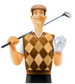 Golf player with club and ball — Stock Vector