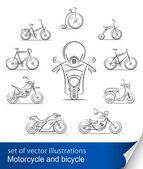 Uppsättning av cyklar och motorcyklar — Stockvektor