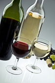 Two bottles of white and red wine, two glasses and grapes — Stock Photo