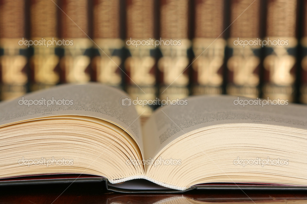Open book in library, concept of knowledge — Stock Photo #6187845