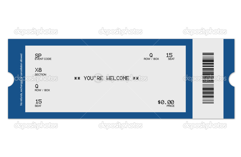 Illustration of event ticket, made with Photoshop. High resolution, isolated, close-up. — Stock Photo #6188324