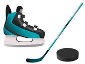 Hockey equipment — Stock Vector