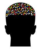 Tabletki w głowie — Wektor stockowy