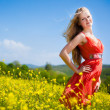 Young girl in red — Foto Stock