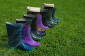 Mixed pairs of wellingtons — Stock Photo