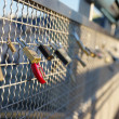 Brigde with padlocks - Stock Photo