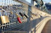 Brigde with padlocks — Stock Photo