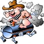 Pig Riding on a BBQ barrel — Stock Vector