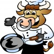 Bull Chef holding a Pan — Stock Vector
