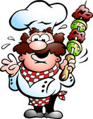 Kebab Chef with a kebab skewer — Stock Vector