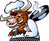Bull Chef holding a Pan over his schoulder — Stock Vector