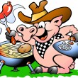 Pig standing and making BBQ - Stock Vector