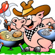 Stock Vector: Pig standing and making BBQ