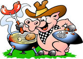 Pig standing and making BBQ — Stock Vector