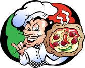 Hand-drawn Vector illustration of an Italien Pizza Baker — Stock Vector