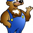 Hand-drawn Vector illustration of an Bear in Blue Overalls — Stockvectorbeeld