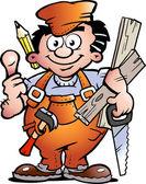Hand-drawn Vector illustration of an Carpenter Handyman — Stock Vector