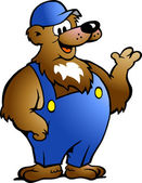 Hand-drawn Vector illustration of an Bear in Blue Overalls — Stock Vector