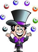 Hand-drawn Vector illustration of an Juggling Bingo Man — Stock Vector