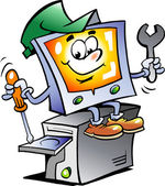 Hand-drawn Vector illustration of an Computer Repairman — Stockvektor