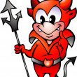 Hand-drawn Vector illustration of an Little Red Devil Boy — Vector de stock