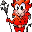 Hand-drawn Vector illustration of an Little Red Devil Boy — Stockvektor  #6105023