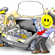 Stock Photo: Smiley Inspection of Car