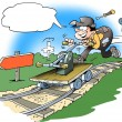 Stock Photo: Mechanic driving handcar on rails