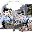 Cops playing chess - Thief is at stake — Stock Photo