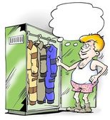 Different jumpsuits in working closet — Stock Photo