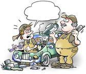 Mechanics repairing riddled old car — Stock Photo