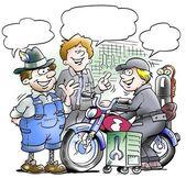 摩托车力学分享他们的经验 — 图库照片