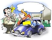 Car salesman who convinces a customer — Stock Photo
