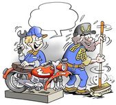 Young mechanic costing around with older employee — Стоковое фото