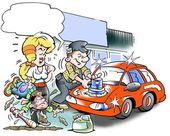 Mechanic polishes his car — Stock Photo