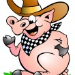 Stock Vector: Hand-drawn Vector illustration of Pig Chef that Welcomes
