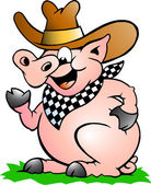 Hand-drawn Vector illustration of an Pig Chef that Welcomes — Stock Vector