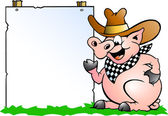 Hand-drawn Vector illustration of an Pig Chef in front of a sign — Stock Vector