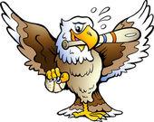 Ilustração vetorial mão-extraídas de uma águia jogando beisebol — Vetorial Stock
