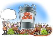 Cows convert biogas to fuel — Stock Photo