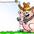 Hand-drawn Vector illustration of an Pig Chef in front of a sign — Stock Vector #6498536